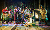"The island natives surround Prentiss (Kristian Sorensen), the Boy (Will Champion) and Ted (John-Michael Breen) while Mrs. Bumbrake(Charles Baran) and the Fighting Prawn (Willian Vaughn) sentence them to death during Winnipesaukee Playhouse rehearsal of ""Peter and the Starcatcher"" Tuesday evening.  (Karen Bobotas/for the Laconia Daily Sun)"
