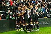 Isaac Hayden (#14) of Newcastle United celebrates Newcastle United's first goal (1-0) with Newcastle United team mates during the Premier League match between Newcastle United and Chelsea at St. James's Park, Newcastle, England on 18 January 2020.