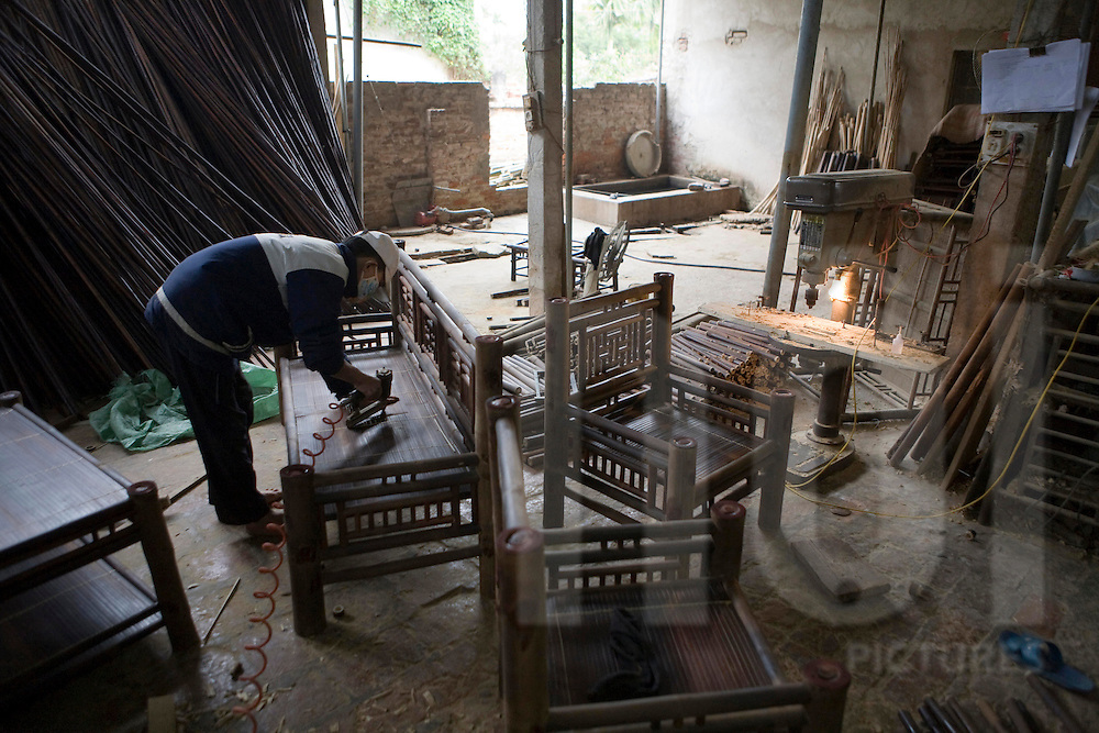 Bamboo furnitures workshop in Xuan Lai, a craft village close to Hanoi, Vietnam, Southeast Asia