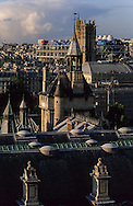 France. Paris. elevated view. The conciergerie, Saint Jacques tower, justice palace and Beaubourg museum. view from the Sainte Chapelle