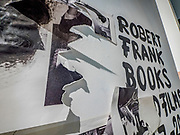 "Portland, Oregon, USA. 26 FEB, 2018. The photographer Robert Frank's work hangs  defaced at Blue Sky Gallery in Portland, Oregon, USA. The work was destroyed in a ""Destruction Dance"" performance defacing the photographs with ink and mutilation with scissors, knives and even ice skates  at the end of it's run. The destruction was Frank's protest regarding today's greed in the global art market."