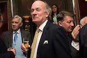 SIR EDWARD CAZALET; DAVID CAMPBELL, David Campbell Publisher of Everyman's Library and Champagen Bollinger celebrate the completion of the Everyman Wodehouse in 99 volumes and the 2015 Bollinger Everyman Wodehouse prize shortlist. The Archive Room, The Goring Hotel. London. 20 April 2015.