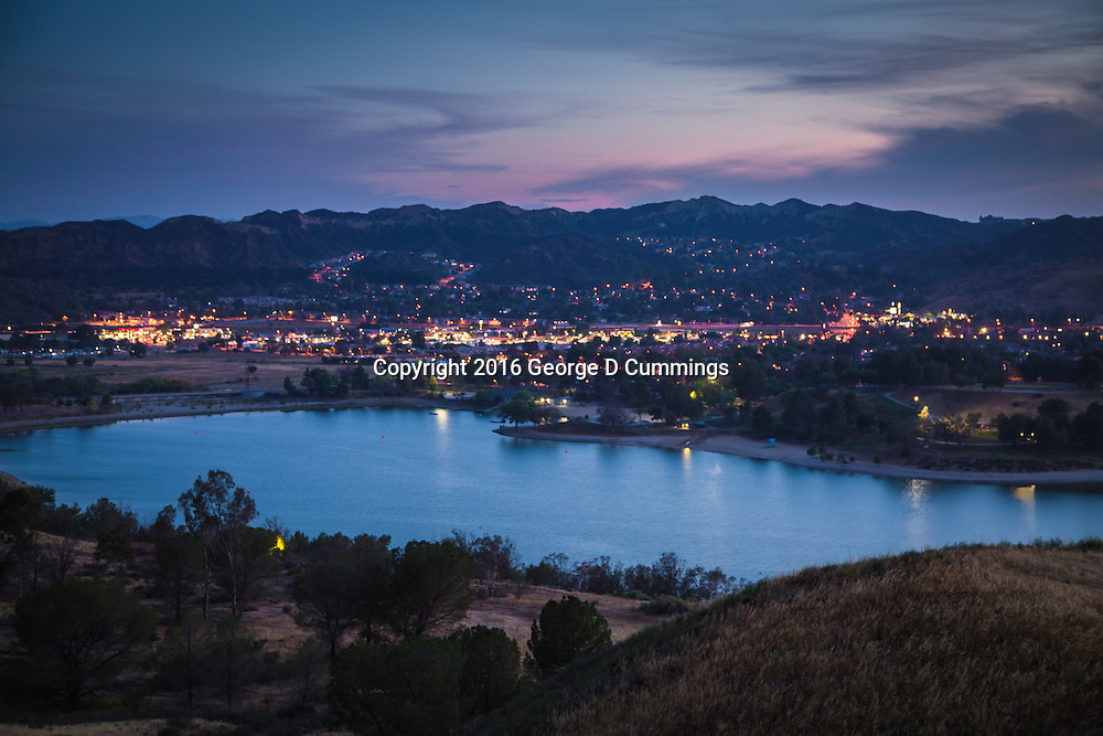 Castaic Lake at twilight.