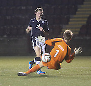 Ben Sivewright comes close to scoring - Stenhousemuir v Dundee, SPFL Reserve League Cup at Ochilview<br /> <br /> <br />  - &copy; David Young - www.davidyoungphoto.co.uk - email: davidyoungphoto@gmail.com