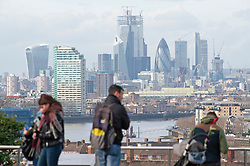 © Licensed to London News Pictures. 12/02/2019. Greenwich, A view across the City of London, Bright and milder weather today in Greenwich Park, South East London . Photo credit: Grant Falvey/LNP