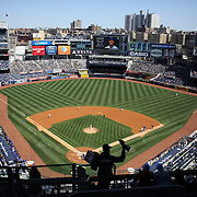 A general view of Yankee Stadium during game one of the New York Yankees V Chicago Cubs, double header game one at Yankee Stadium, The Bronx, New York. 16th April 2014. Photo Tim Clayton