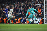 PSG almost scoring another goal during the Champions League match between Chelsea and Paris Saint-Germain at Stamford Bridge, London, England on 9 March 2016. Photo by Matthew Redman.