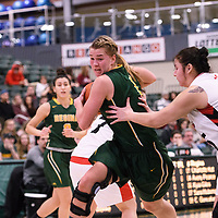 5th year forward Charlotte Kot (1) of the Regina Cougars during the Women's Basketball home game on January 27 at Centre for Kinesiology, Health and Sport. Credit: Arthur Ward/Arthur Images