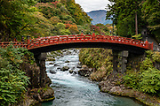 Shinkyo Bridge was built in 1636 at the entrance to Nikko's shrines and temples, and technically belongs to Futarasan Shrine. Nikko, Tochigi Prefecture, Japan.