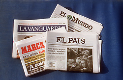 Spanish newspapers  La Vanguardia; El Mundo; El Pais; Marca,