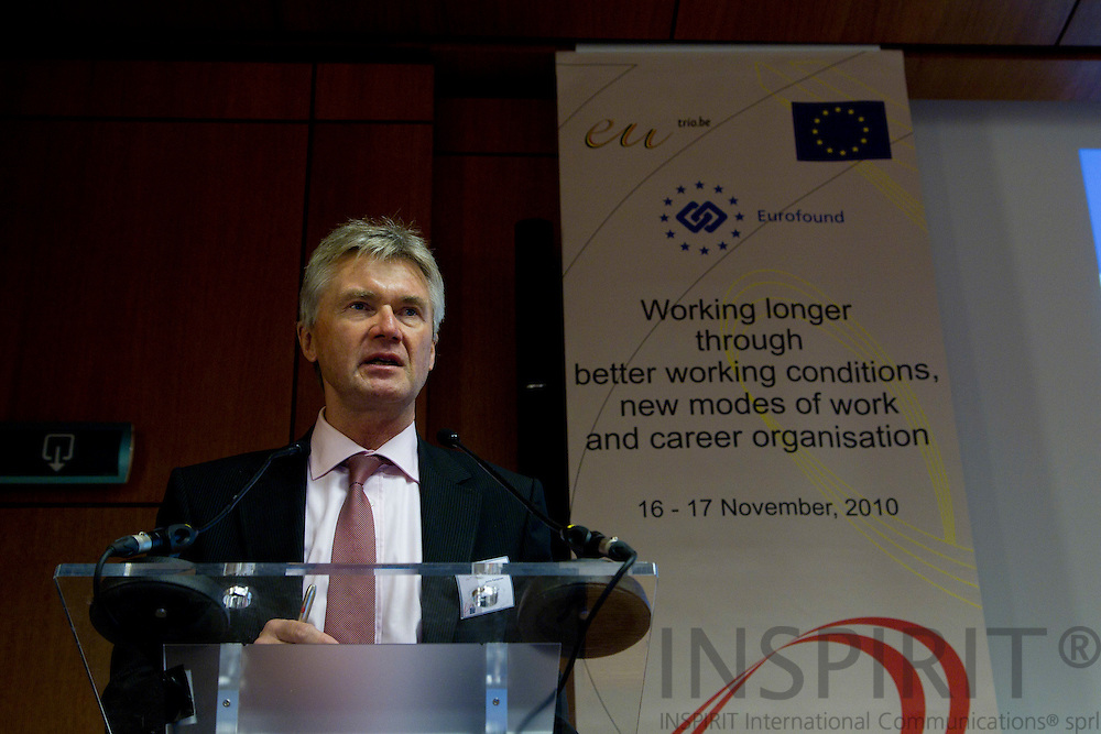 "BRUSSELS - BELGIUM - 16 NOVEMBER 2010 -- Jorma Karppinen, Director, Eurofound,  speaking at the EUROFOUND conference is cooperation with the Belgian EU Presidency and the European Commission on ""Working longer through better working conditions, new modes of work and career organisation"" held 16-17 November 2010 at Palais des Academies in Brussels. PHOTO: ERIK LUNTANG / INSPIRIT Photo"