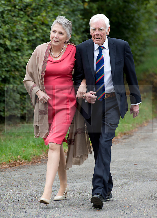 © London News Pictures. 14/09/2013.  Actor Tony Booth, father of Cherie Blair,  and his wife Stephanie Buckley arriving for the wedding of Euan Blair, Son of former British Prime Minister Tony Blair,  to Suzanne Ashman at All Saints Parish Church in Wotton Underwood, Buckinghamshire. The wedding was attended by Former British Prime minister Tony Blair and his wife Cherie Blair. Photo credit: Ben Cawthra/LNP