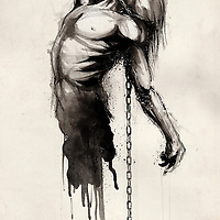 inky illustration of a man being pulled down by a chain