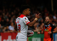 Regan Grace St Helens celebrates scoring the 1st try of the game against Castleford Tigers during the Ladbrokes Challenge Cup match at the Mend-A-Hose Jungle, Castleford<br /> Picture by Stephen Gaunt/Focus Images Ltd +447904 833202<br /> 12/05/2018