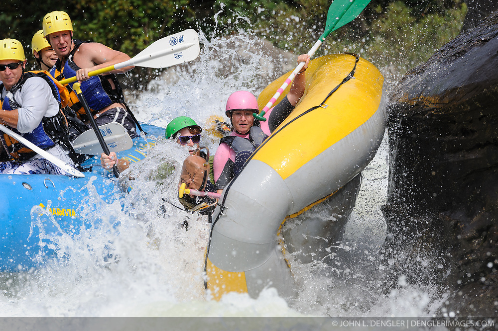 Unidentified whitewater rafters collide in the rapids at Pillow Rock on the Gauley River during American Whitewater's Gauley Fest weekend. The upper Gauley, located in the Gauley River National Recreation Area is considered one of premier whitewater rivers in the country.