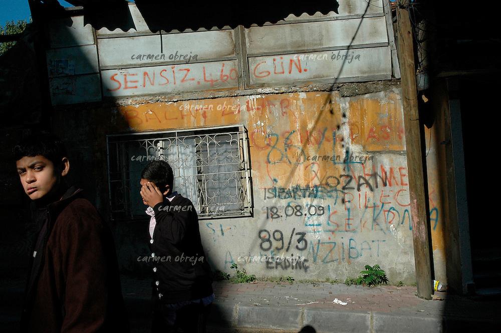 boys walk on a street in Balat district