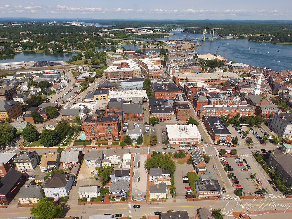 Aerial view of Portsmouth NH showing the corridor from the African Burying Ground Memorial in the center foreground, to Port Walk at center rear of view.