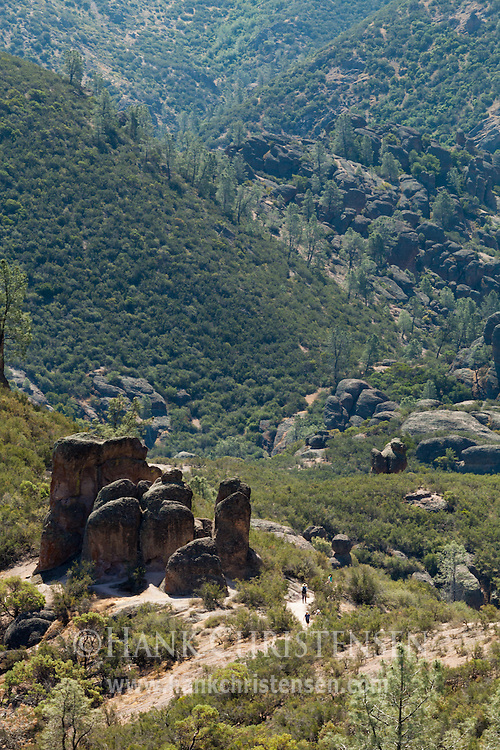 A collection of stone pinnacles rises up from the valley floor, Pinnacles National Park