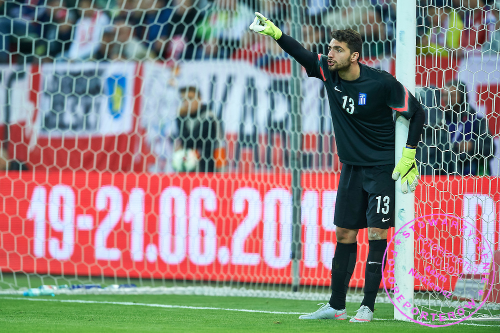 Goalkeeper Stefanos Kapino from Greece in action during international friendly soccer match between Poland and Greece at PGE Arena Stadium on June 16, 2015 in Gdansk, Poland.<br /> Poland, Gdansk, June 16, 2015<br /> <br /> Picture also available in RAW (NEF) or TIFF format on special request.<br /> <br /> For editorial use only. Any commercial or promotional use requires permission.<br /> <br /> Adam Nurkiewicz declares that he has no rights to the image of people at the photographs of his authorship.<br /> <br /> Mandatory credit:<br /> Photo by &copy; Adam Nurkiewicz / Mediasport