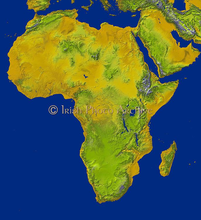 shaded relief image shows the extent of digital elevation data for Africa recently released by the Shuttle Radar Topography Mission (SRTM). Space Shuttle Endeavour in February 2000 and used an interferometric radar system to map the topography of Earth's landmass between latitudes 56 degrees south and 60 degrees north. The data were processed into geographic 'tiles,' each of which represents one by one degree of latitude and longitude. The northern part of the continent consists of a system of basins and plateaus, with several volcanic uplands whose uplift has been matched by subsidence in the large surrounding basins. Many of these basins have been in filled with sand and gravel, creating the vast Saharan lands. The Atlas Mountains in the northwest were created by convergence of the African and Eurasian tectonic plates. The geography of the central latitudes of Africa is dominated by the Great Rift Valley, extending from Lake Nyasa to the Red Sea, and splitting into two arms to enclose an interior plateau and the nearly circular Lake Victoria, visible in the right centre of the image. To the west lies the Congo Basin, a vast, shallow depression which rises to form an almost circular rim of highlands.