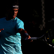 March 4, 2014, Indian Wells, California: <br /> Rafael Nadal hits a forehand on the practice courts at the Indian Wells Tennis Garden. <br /> (Photo by Billie Weiss/BNP Paribas Open)