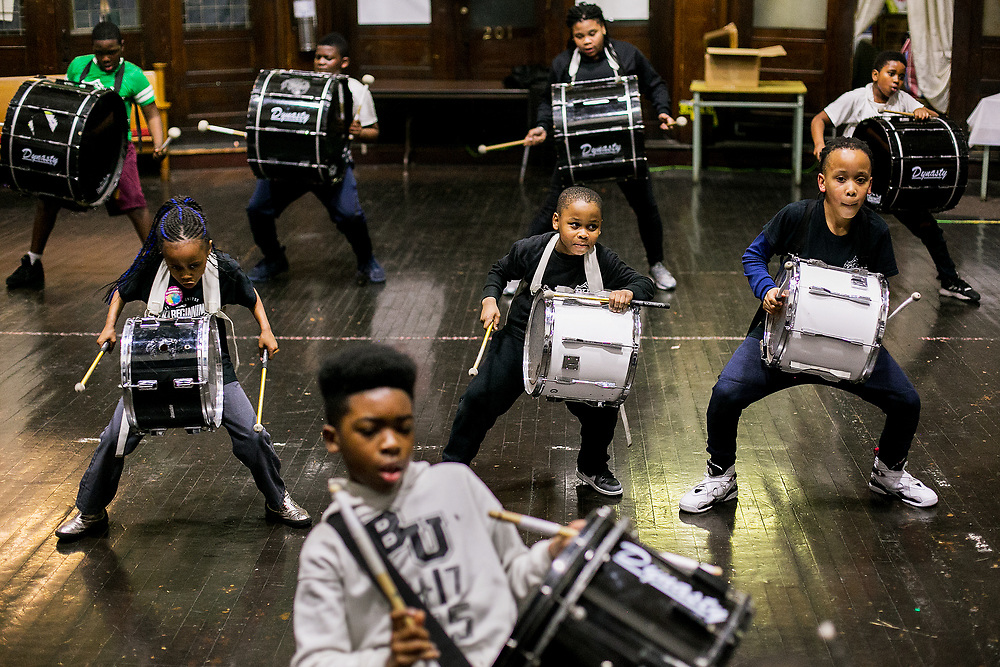 BROOKLYN, NY - MARCH 7, 2017: The Brooklyn United Marching Band practices at Union United Methodist Church in Brooklyn, New York. The band practices immediately next door to 1173 Bergen Street, where Mayor Bill de Blasio has announced the opening of a new men's homeless shelter as part of a plan to open 90 new shelters across the city. CREDIT: Sam Hodgson for The New York Times