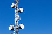 microwave link backhaul parabolic antennas on tower in rural Emerald, Queensland, Australia <br /> <br /> Editions:- Open Edition Print / Stock Image