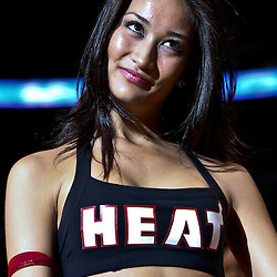 March 3, 2011; Miami, FL, USA; A Miami Heat dancer performs during a game against the Orlando Magic at the American Airlines Arena. The Magic defeated the Heat 99-96.    Mandatory Credit: Derick E. Hingle