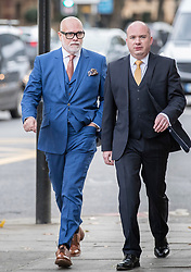 © Licensed to London News Pictures. 14/11/2017. London, UK. GARY GOLDSMITH (L), an uncle of the Duchess of Cambridge, arrives at Westminster Magistrates Court.  The younger brother of Kate Middleton's mother allegedly punched his wife, Julie-Ann Goldsmith, during a late night argument outside their west London home, following a night out. Police were reportedly called to the address by a taxi driver who dropped the couple off. Photo credit: Peter Macdiarmid/LNP