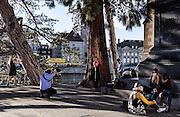 Switzerland, Zurich: photographic shooting with red balloon