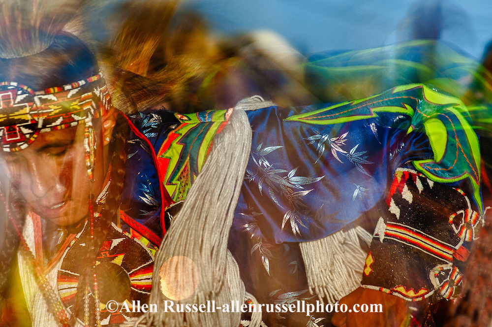 Crow Fair, powwow, Fancy Dancers, Crow Indian Reservation, Montana, blurred motion.