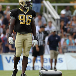 August 5, 2011; Metairie, LA, USA; New Orleans Saints defensive end Alex Brown (96) during training camp practice at the New Orleans Saints practice facility. Mandatory Credit: Derick E. Hingle