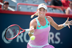 MONTREAL, Aug. 7, 2018  Timea Babos of Hungary hits a return during the first round of women's singles match against Julia Goerges of Germany at the 2018 Rogers Cup in Montreal, Canada, Aug. 6, 2018. Julia Goerges won 2-1. (Credit Image: © Andrew Soong/Xinhua via ZUMA Wire)