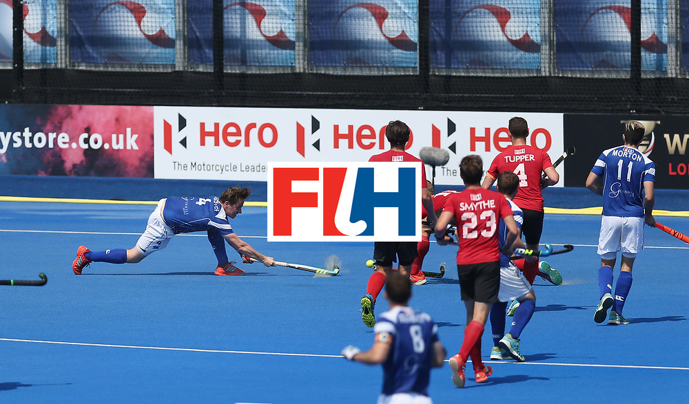 LONDON, ENGLAND - JUNE 20: David Forsyth of Scotland shoots at goal during the Pool B match between Scotland and Canada on day six of the Hero Hockey World League Semi-Final at Lee Valley Hockey and Tennis Centre on June 20, 2017 in London, England.  (Photo by Alex Morton/Getty Images)