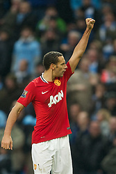 08.01.2012, Etihad Stadion, Manchester, ENG, PL, Manchester City vs Manchester United, 3. Runde, im Bild Manchester United's Rio Ferdinand celebrates his side's 3-2 victory over Manchester City during the football match of English FA Cup, 3rd round, between Manchester City and Manchester United at Etihad Stadium, Manchester, United Kingdom on 2012/01/08. EXPA Pictures © 2012, PhotoCredit: EXPA/ Propagandaphoto/ David Rawcliff..***** ATTENTION - OUT OF ENG, GBR, UK *****