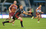 Sam Powell of Wigan Warriors spreads play during the Betfred Super League match at the John Smiths Stadium, Huddersfield<br /> Picture by Richard Land/Focus Images Ltd +44 7713 507003<br /> 12/07/2018