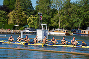 Henley on Thames, England, United Kingdom, 4th July 2019, Henley Royal Regatta,Temple Challenge Trophy, University of Michigan pass  the one mile and one eight barrier,  Henley Reach, [© Peter SPURRIER/Intersport Image]<br /> <br /> 09:11:59 1919 - 2019, Royal Henley Peace Regatta Centenary,
