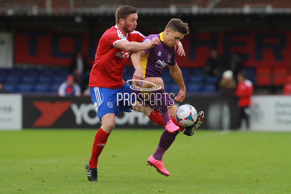 Richard Brodie and Billy Waters during the Vanarama National League match between Aldershot Town and Cheltenham Town at the EBB Stadium, Aldershot, England on 28 November 2015. Photo by Antony Thompson.