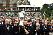 Jul 31, 2016; Springfield, NJ, USA; Jimmy Walker holds up the Wanamaker trophy during the Sunday round of the 2016 PGA Championship golf tournament at Baltusrol GC - Lower Course. Mandatory Credit: Eric Sucar-USA TODAY Sports