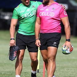 DURBAN, SOUTH AFRICA - FEBRUARY 27: Kieren Van Vuuren with Thomas du Toit during the Cell C Sharks training session at Growthpoint Kings Park on February 27, 2018 in Durban, South Africa. (Photo by Steve Haag/Gallo Images)