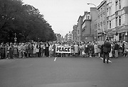 Women's Peace March In Dublin  (K50)..1976..28.08.1976..08.28.1976..28th August 1976..As part of the Peace Movement, set up by Ms Betty Williams and Ms Mairead Maguire in Northern Ireland, a march was organised for Dublin. Thousands of women took part in the march from St Stephen's Green, Dublin to the seat of government in Leinster House on Merrion Square, Dublin, to protest the continuing violence within the country..Image shows the march assembling of the peace march in St Stephen's Green.