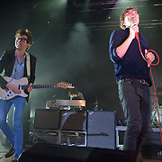 COLUMBIA, MD - May 11th,  2013 -  Laurent Brancowitz (with guitar) and Thomas Mars of Phoenix perform on the Main Stage at the 2013 Sweetlife Music and Food Festival at Merriweather Post Pavilion in Columbia, MD.  (Photo by Kyle Gustafson/For The Washington Post)