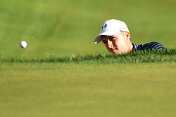 June 25, 2017 - Cromwell, Connecticut, U.S - Jordan Spieth hits one from the sand trap on the first play off hole during the Travelers Championship at TPC River Highlands in Cromwell, Connecticut. (Credit Image: © Brian Ciancio via ZUMA Wire)