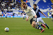 Fulham defender Tim Ream takes on Birmingham City midfielder Will Buckley during the Sky Bet Championship match between Birmingham City and Fulham at St Andrews, Birmingham, England on 19 March 2016. Photo by Alan Franklin.