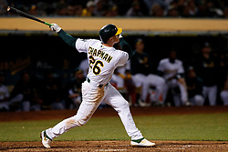 OAKLAND, CA - SEPTEMBER 16: Matt Chapman #26 of the Oakland Athletics at bat against the Kansas City Royals during the seventh inning at the RingCentral Coliseum on September 16, 2019 in Oakland, California. The Kansas City Royals defeated the Oakland Athletics 6-5. (Photo by Jason O. Watson/Getty Images) *** Local Caption *** Matt Chapman