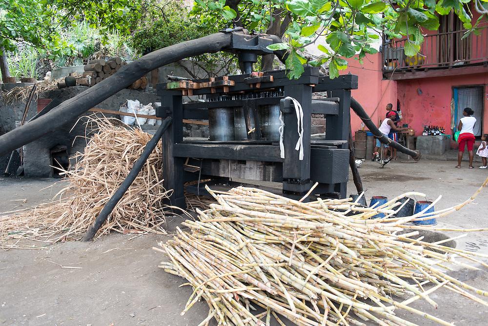 Press with sugar cane in a rum distillery. Pressoir à canne à sucre dans une rhumerie.