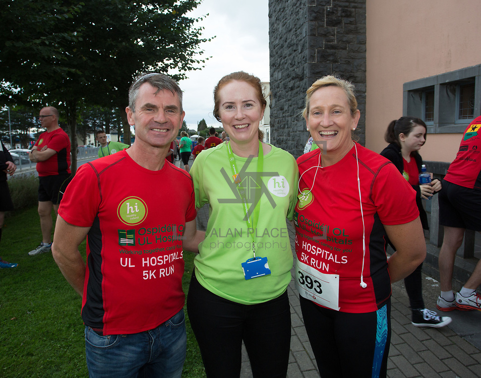 25.08. 2017.                                                      <br /> Almost 200 UL Hospitals Group staff, past and present, and members of the public completed the annual 5k Charity Run/Walk on Friday August 25th in Limerick.<br /> <br /> Pictured at the event were, Seamus Hourigan, UHL, Laura Tobin, UHL and Mairead Cowan, UHL.<br /> <br /> <br /> Everybody who participated also raised funds for Friends of Ghana, an NGO formed last year by UL Hospitals Group and its academic partner the University of Limerick to deliver medical training programmes in the remote Upper West Region of Ghana. Picture: Alan Place