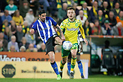 Sheffield Wednesday midfielder George Boyd (21) takes a speculative shot during the EFL Sky Bet Championship match between Norwich City and Sheffield Wednesday at Carrow Road, Norwich, England on 19 April 2019.