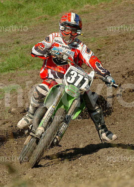 Motocross, MX2 WM 2004, Weltmeisterschaft, Grand Prix of Europe, Gaildorf (Germany) Christophe Pourcel (FRA), Kawasaki