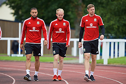 DINARD, FRANCE - Monday, July 4, 2016: Wales' Ashley 'Jazz' Richards, Jonathan Williams and Simon Church during a training session at their base in Dinard as they prepare for the Semi-Final match against Portugal during the UEFA Euro 2016 Championship. (Pic by David Rawcliffe/Propaganda)